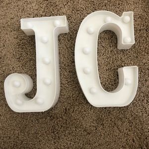 J and C light up letters
